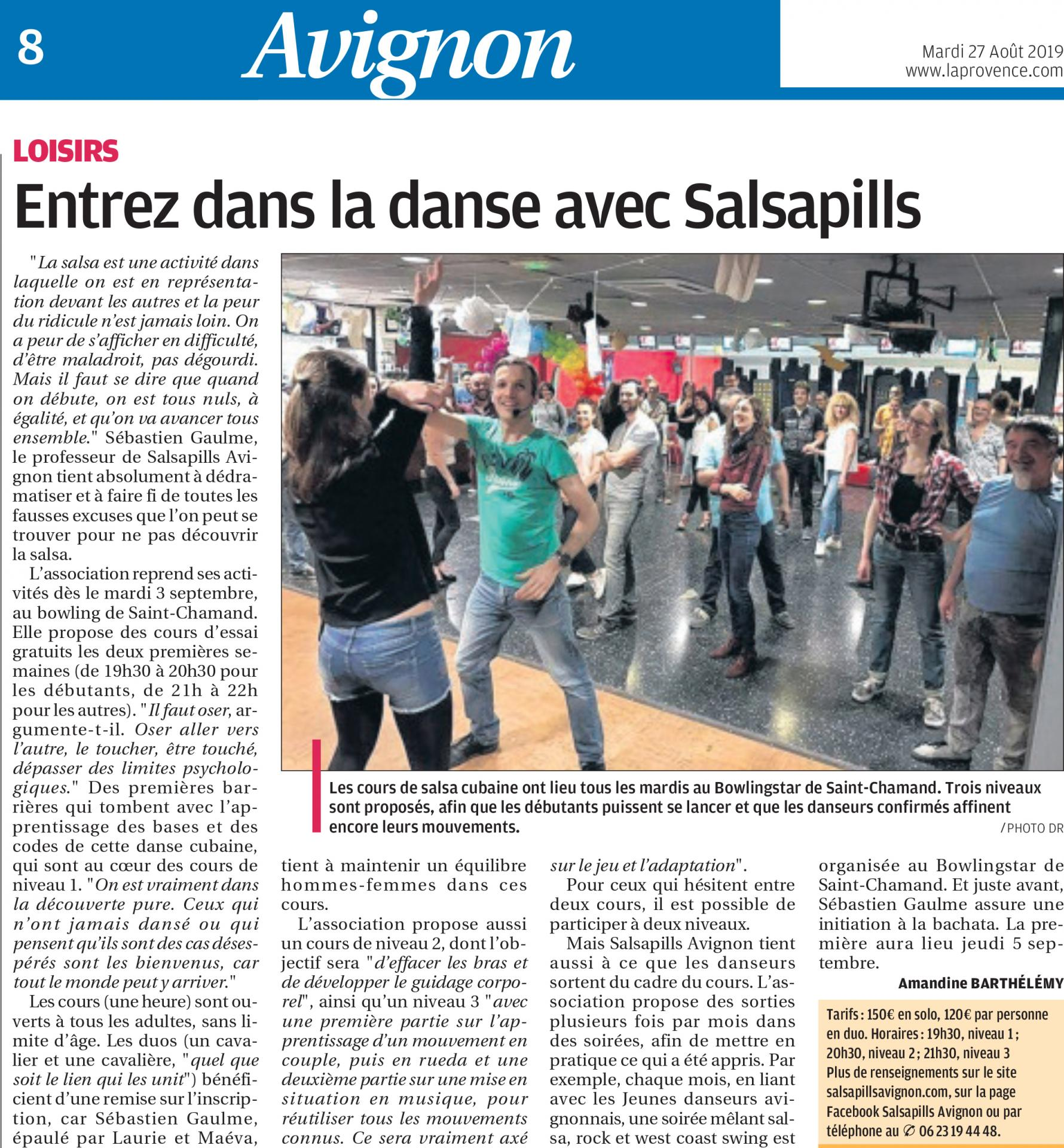 Article La Provence : rentree salsapills